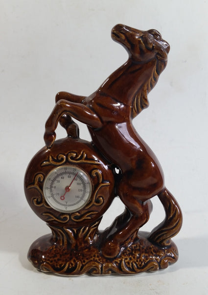 "Vintage Rearing Brown Horse 6 1/2"" Tall Ceramic Rustic Mid-Century Thermometer Made in Japan"