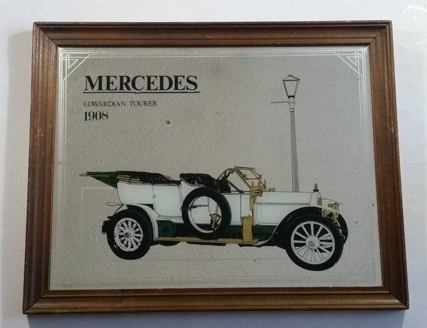 "Vintage 1908 Mercedes Edwardian Tourer Antique Car with House in Background 16"" x 19 1/2"" Wood Framed Glass Mirror Man Cave Garage Collectible"