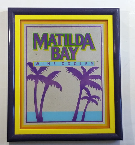 "Beeco Matilda Bay Wine Cooler Purple Yellow Blue Tropical Palm Tree Themed 16"" x 19"" Purple Framed Glass Mirror Bar Pub Lounge Advertising Collectible"