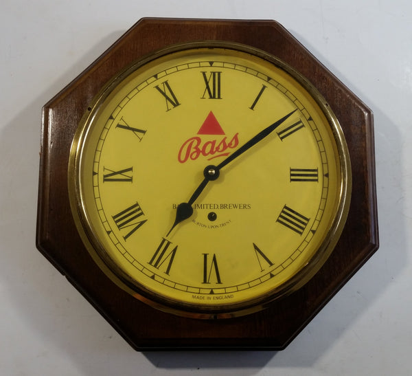 "Vintage Bass Beer Glass Covered Wooden Case 13"" Diameter Bar Pub Wall Clock Made in England"