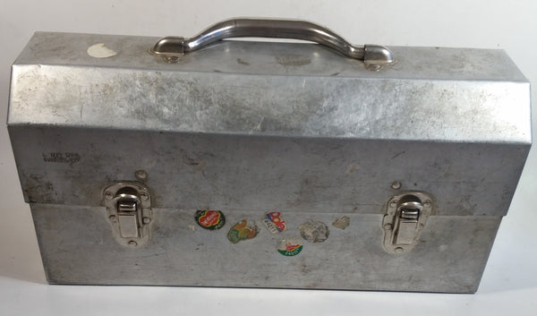 "Vintage L. May Mfg Co. 14 1/2"" Wide Polished Riveted Aluminum Metal Miner's Lunch Box"
