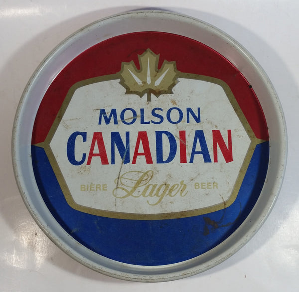 "Vintage Molson Canadian Lager Beer 13"" Diameter Round Metal Beverage Serving Tray"