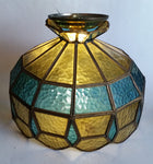 Vintage Yellow and Blue Leaded Glass Hanging Swag Lamp Light Fixture
