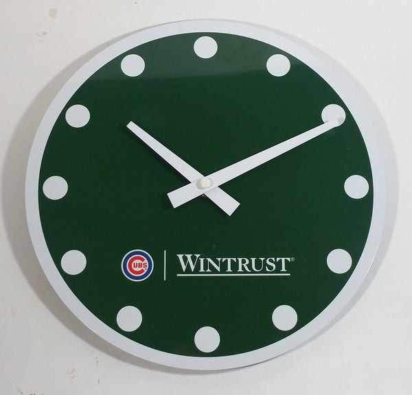 "Wintrust MLB Chicago Cubs Baseball Team 9 3/4"" Diameter Round Aluminum Metal Clock"