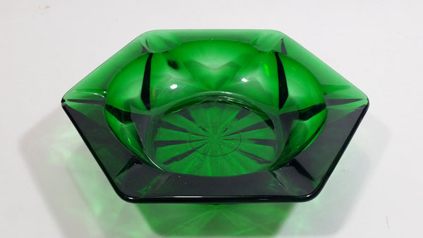 Vintage Dark Green Depression Glass Ash Tray