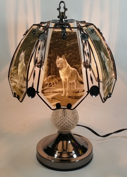 "Wolf Wildlife Themed 16"" Tall Metal with Crystal Style Ball Table Lamp"