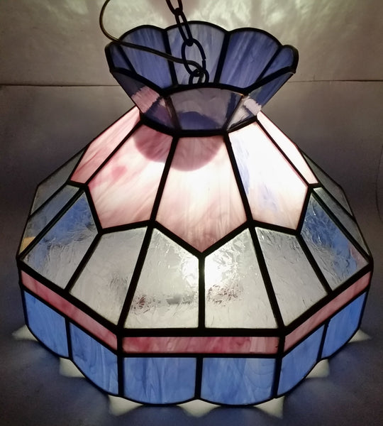 Vintage Pink Blue and Clear Slag Marble Stained Glass Swag Hanging Lamp Light Fixture