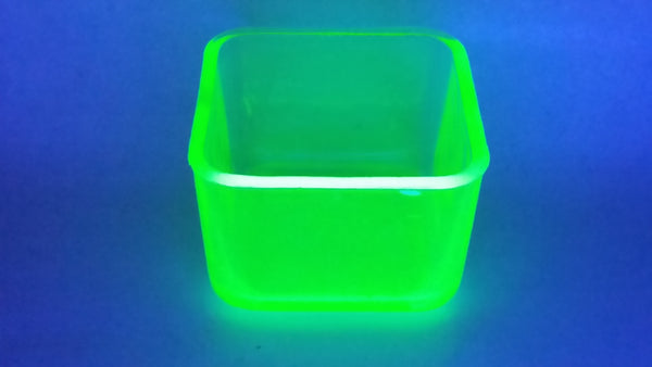 Antique Green Uranium Glass Square Candy Dish