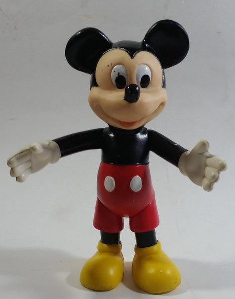 "Disney Mickey Mouse Cartoon Character Hard Rubber 6 1/2"" Tall Articulated Toy Figure"