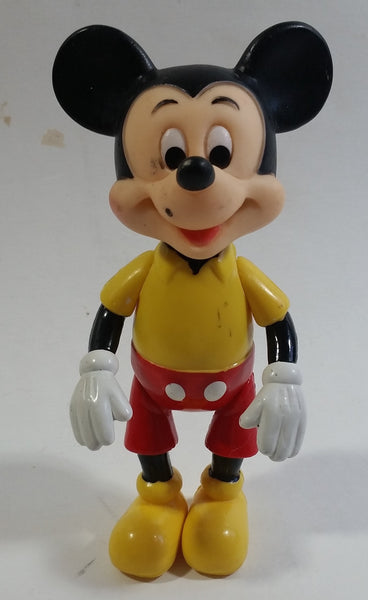 "Vintage Walt Disney Productions Mickey Mouse Cartoon Character 5 1/2"" Articulated Hard Rubber Toy Figure Made in Hong Kong"