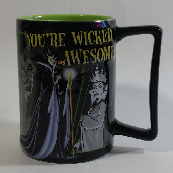 Disney Parks Villain Characters You're Wicked Awesome 3D Raised Relief Black and Green Ceramic Coffee Mug Cup