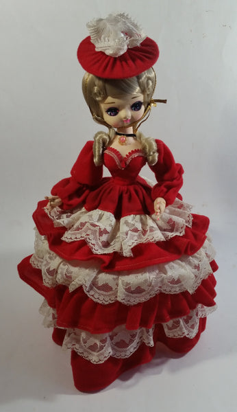 "Vintage 1970s Bradley Artmark Big Eyes ""Tina"" Southern Belle Red and White Dress 14"" Tall Toy Fabric Doll Figure"