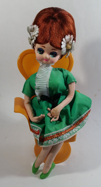 "Vintage 1960s Senpo Musical Doll in Chair 12"" Tall Toy Collectible"
