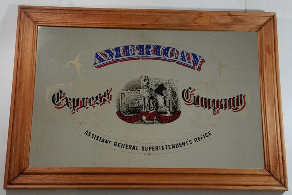 "Vintage American Express ""Assistant General Superintendent's Office"" Large 21"" x 30"" Wood Framed Glass Mirror Advertisement"
