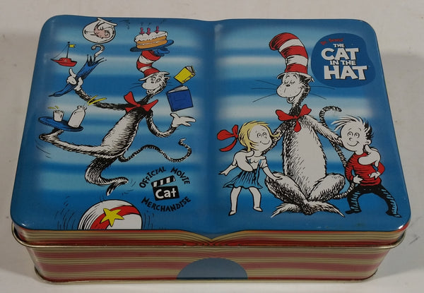 2003 The Cat In The Hat Animated Movie Film Book Shaped Tin Metal Container Dr. Seuss Collectible