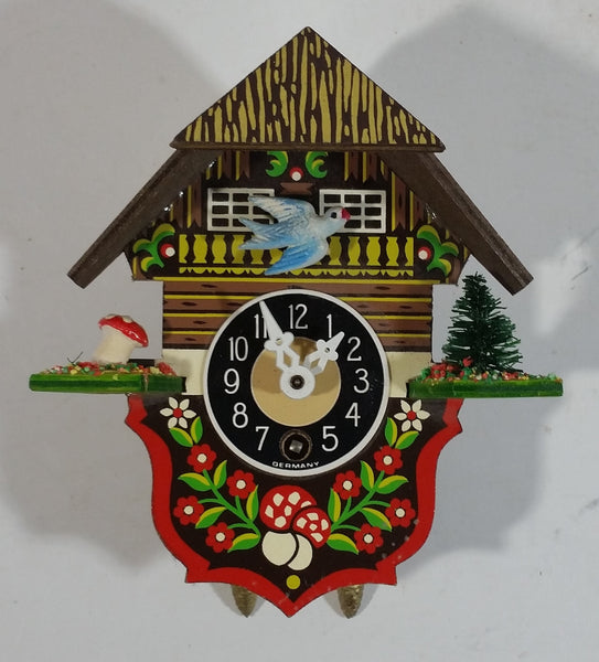 Vintage Bavarian Chalet Lodge Style Miniature Plastic Cuckoo Clock Made in Germany