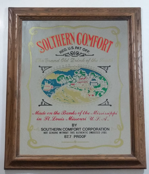 "Vintage Genuine Southern Comfort The Grand Old Drink of the South 87.7 Proof Large 20"" x 23 1/2"" Faux Wood Framed Glass Pub Mirror"