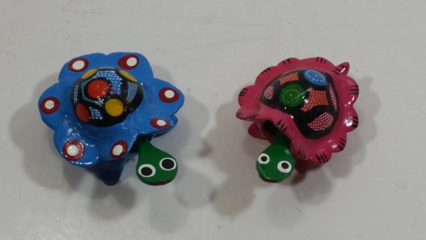 Mexican Bobbling Bobble Hand Painted Wood Turtle Toys Set of 2