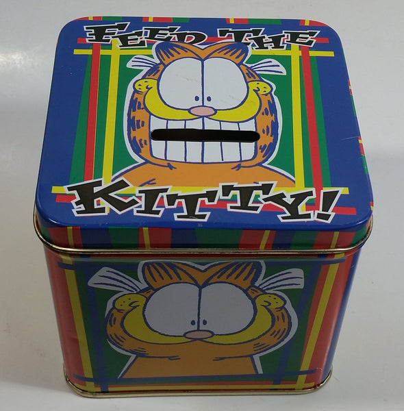 "Paws Jim Davis Garfield ""Feed The Kitty"" Tin Metal Coin Bank Cartoon Collectible"