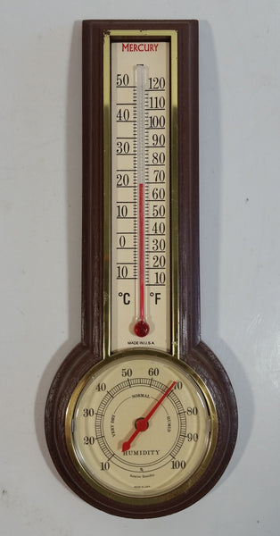 Vintage Wood Texture Plastic Case Thermometer Hygrometer Weather Station Made in U.S.A.