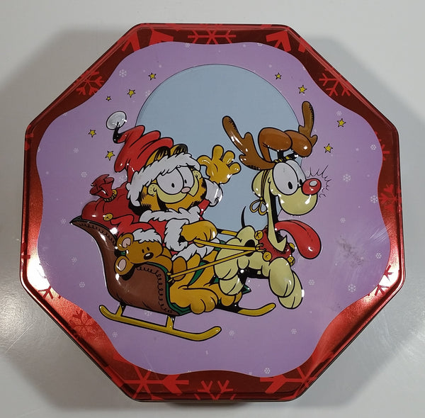 Santa Claus Garfield and Rudolph Odie Christmas Holiday Embossed Tin Metal Container