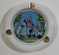Vintage Walt Disney Productions Disneyland Castle White Gold Trim Porcelain Ash Tray