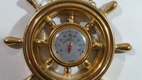 Ship Boat Captain's Wheel Plastic Gold Brass Tone Thermometer - Japan