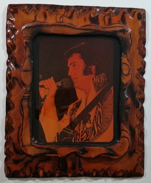 "Vintage Elvis Presley in White Suit Photograph 13"" x 16"" Lacquered Burl Wood Frame"