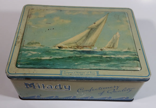 "Antique Waller & Hartley Blackpool, England Milady Confectionery of Quality ""Britannia"" & ""Westard"" Off Cowes Tin Metal Hinged Container"