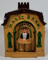 Vintage Magic Bank Mechanical Turning Cashier Cast Iron Coin Bank