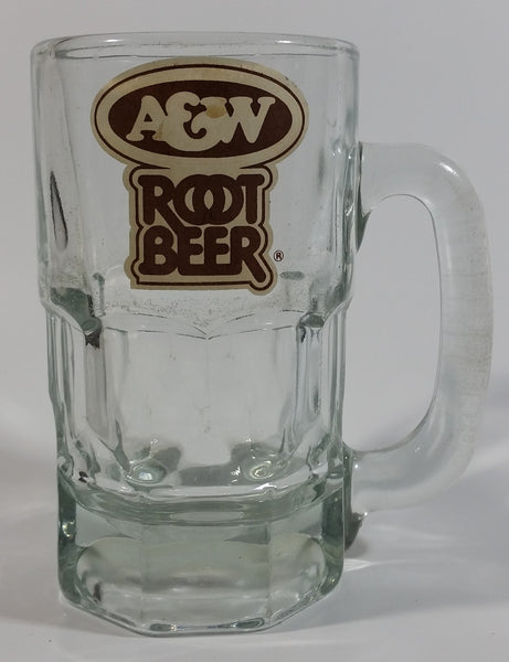 "Vintage A & W Root Beer Logo 5 3/4"" Tall Clear Glass Mug"