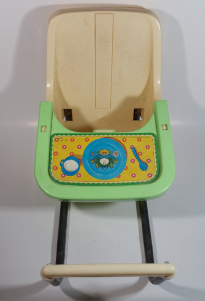 Vintage 1983 Coleco Cabbage Patch Kids Green and Tan Plastic Doll High Chair Toy