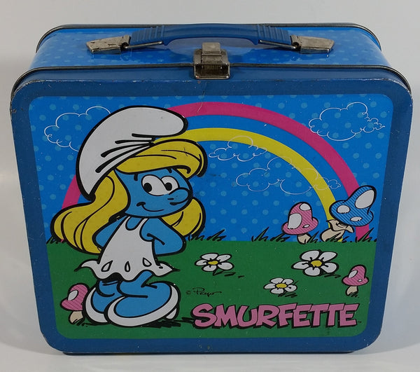 2010 Peyo The Smurfs Smurfette Blue Embossed Tin Metal Lunch Box