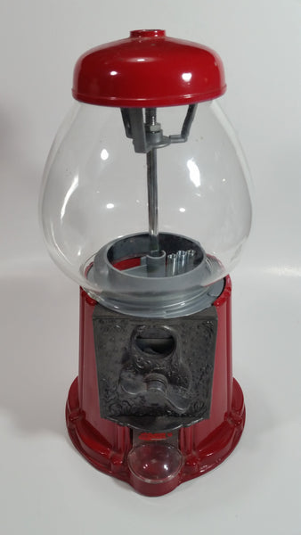 "Vintage 1985 Carousel Brand Metal and Glass Globe Gumball Machine Candy Dispenser 11 1/2"" Tall"