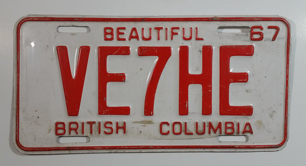 Vintage 1967 Beautiful British Columbia Red Letter White Vehicle Automobile License Plate Tag VE7HE