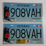 Set of British Columbia Veteran Vehicle Automobile License Plate Tags 908VAH