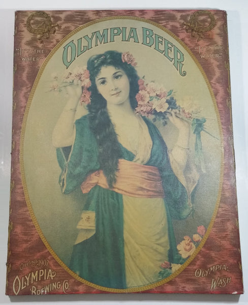 "Vintage Style Olympia Brewing Co. Beer Greeting 1907 Calendar Girl 20"" x 26 1/2"" Canvas Print"