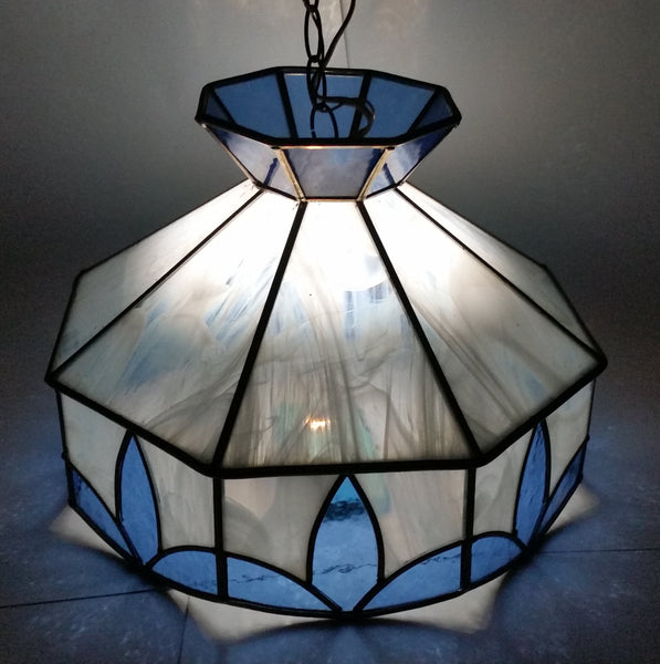 Vintage Blue and White Clear Slag Marble Stained Glass Swag Hanging Lamp Light Fixture