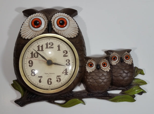 Vintage 1972 Burwood Products New Haven Owl and Baby Owls Clock