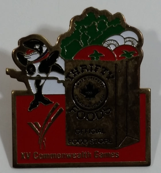 "1994 Victoria XV Commonwealth Games Thrifty Foods Official Food Store ""Klee Wyck"" Killer Whale Mascot Metal Pin"