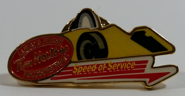 Tim Hortons Speed of Service Formula One Race Car Shaped Enamel Metal Lapel Pin