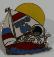 1986 Vancouver Exposition Expo 86 Ernie The Astronaut In Sail Boat Themed Enamel Metal Lapel Pin
