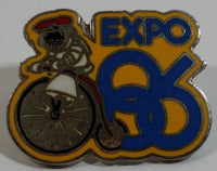 1986 Vancouver Exposition Expo 86 Ernie The Astronaut on a Penny Farthing Bicycle Enamel Metal Lapel Pin