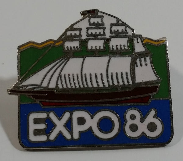 1986 Vancouver Exposition Expo 86 Tall Ship Sail Boat Themed Enamel Metal Lapel Pin