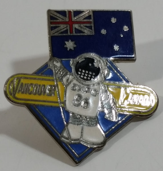 1986 Vancouver Exposition Expo 86 Ernie The Astronaut with Australia Flag Metal Lapel Pin