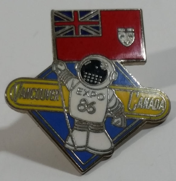 1986 Vancouver Exposition Expo 86 Ernie The Astronaut with Ontario Flag Metal Lapel Pin