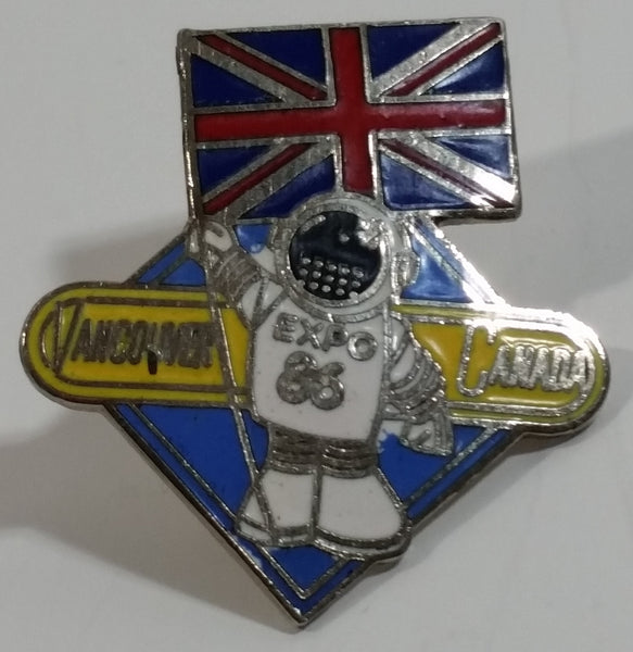 1986 Vancouver Exposition Expo 86 Ernie The Astronaut with United Kingdom Flag Metal Lapel Pin