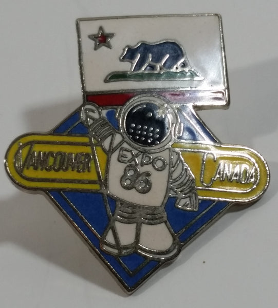 1986 Vancouver Exposition Expo 86 Ernie The Astronaut with California Republic Flag Metal Lapel Pin