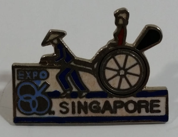 1986 Vancouver Exposition Expo 86 Singapore Rickshaw Themed Enamel Metal Lapel Pin