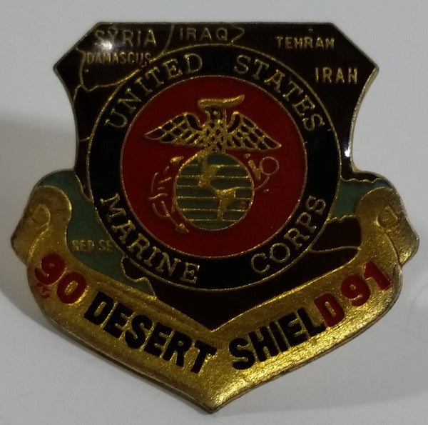 1990 - 1991 Desert Shield United States Marine Corps Badge Shaped Enamel Metal Lapel Pin Army Military Collectible